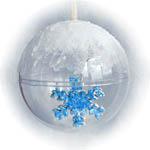 Шар прозрачный со снежинкой внутри и пастой иней