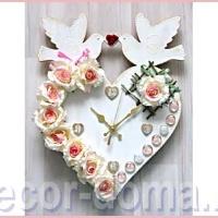 Часы свадебные с розами, мастер-класс по декору