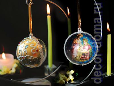 Рождественский шар, декупаж и золочение, мастер-класс