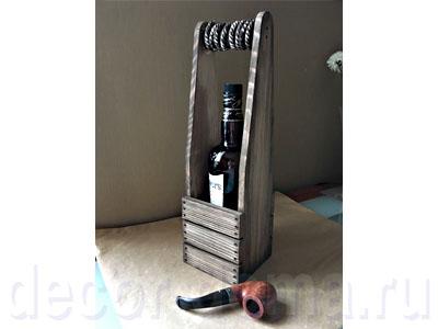 Футляр, корзина для вина деревянная, декор с брашировкой, мастер-класс