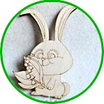 Кролик с ландышем, фанерная фигурка