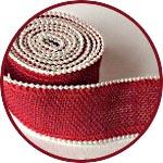 Лента из мешковины, отделка перламутром, 4 см х 2 м, цвет красный