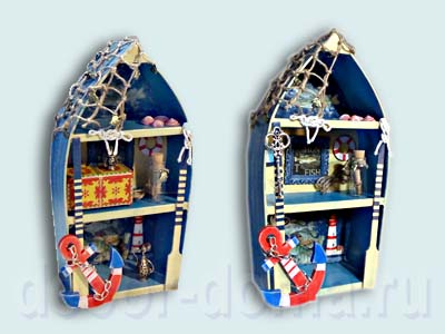 Морской декор, лодочка-полка (шадоубокс), мастер-класс