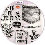 Набор силиконовых штампов Viva-Silikon-Stempel, 157 Джинсы, стиль гранж
