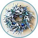 Рождественский венок в серебристо-голубой гамме