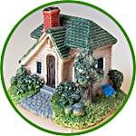 Домик-коттедж миниатюрный, 5 см, зелёная крыша