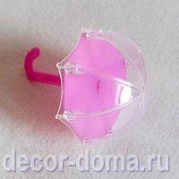 Зонтик открытый, фигурка из пластика, 11 см, цвет розовый