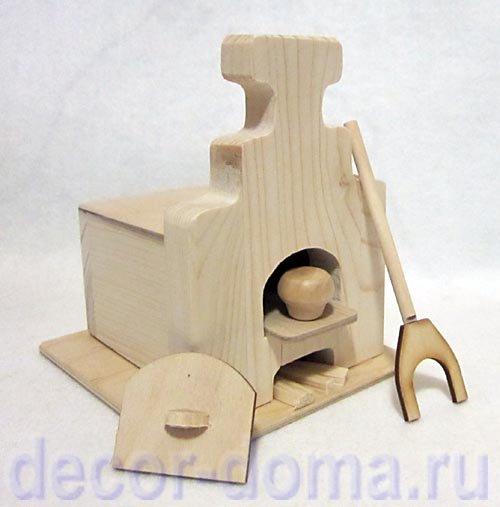 Русская печь миниатюрная деревянная, игрушка, купить