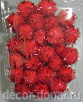 Помпончики с люрексом, 13 мм, 25 шт., цвет красный