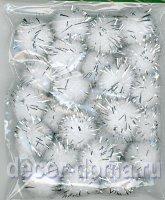 Помпончики с люрексом, 13 мм, 25 шт., цвет белый