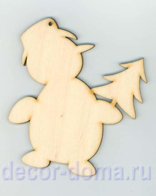 Фигурка фанерная, Снеговик с елкой