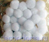 Помпончики миди, 18 мм, цвет белый