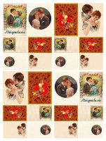 Бумага для декупажа DGE 08 Поцелуи и сердечки (винтаж)