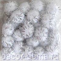 Помпончики с люрексом 18 мм, 25 шт., цвет белый