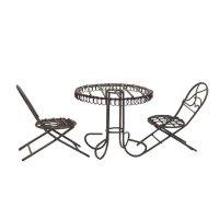 Дачная мебель мини, 1 столик и 2 кресла, цвет темно-коричневый