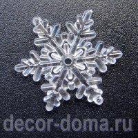 """Снежинки прозрачные """"Ажур"""", подвески, 5,5 см, 5 шт."""