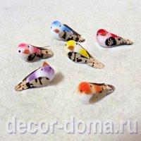 Птички микро, 3 см, 6 шт., разноцветные