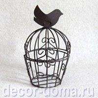 Клетка с птичкой, 7,5х12 см, темно-коричневая