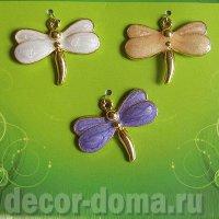 Стрекозы золотистые с эмалью, 3 шт., набор подвесок