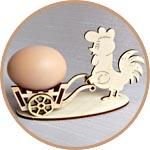 Подставка под яйца пасхальная - петушок с тележкой