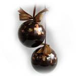"""Шар прозрачный """"Шоколад"""" декор поталью и краской"""