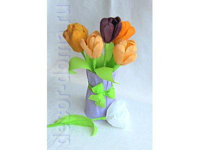 Букет тюльпанов из крепированной бумаги