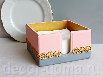 Золото с серым и розовым, салфетница с литым кружевом, мастер-класс