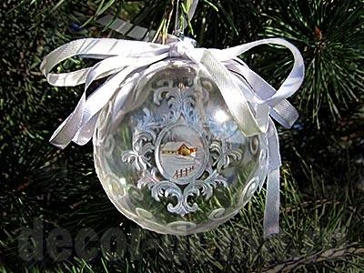 Новогодний шар с зимним пейзажем в красивой раме, мастер-класс