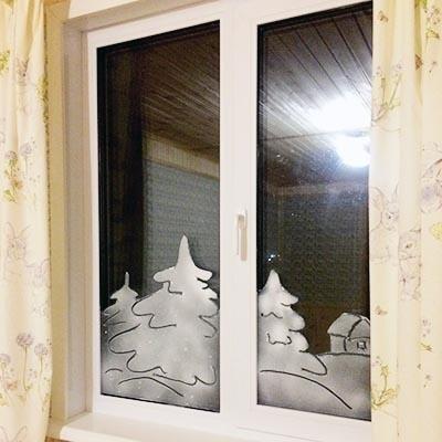 Новогодний декор окон - зимний пейзаж мастер класс
