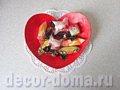 Валентинка-конфетница, мастер-класс по лепке из массы DAS