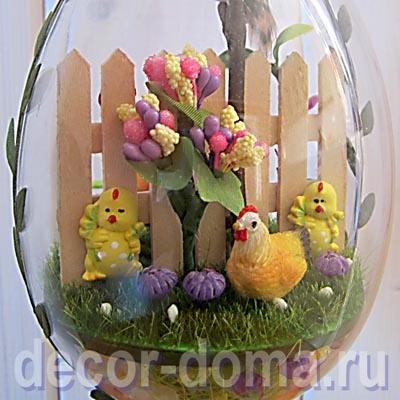 Пасхальная миниатюра в большом прозрачном яйце, мастер-класс