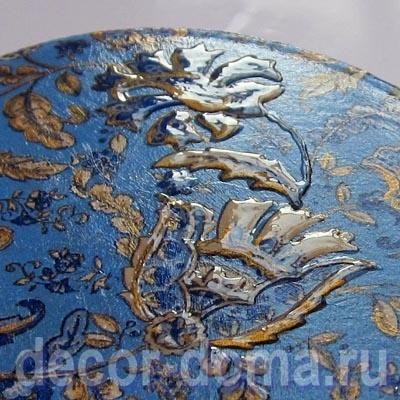 Декор овальной шкатулки из папье-маше бумагой Decopatch и объемным 3D лаком, мастер-класс