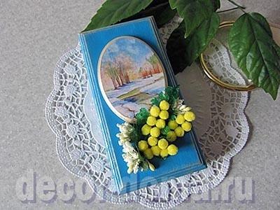В духе ретро-открытки, коробочка для подарка на 8 марта, мастер-класс