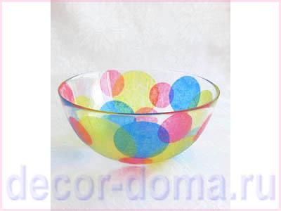 Игра цветов на стекле, декор салатника, мастер-класс