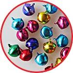 Бубенчики разноцветные, металлические подвески, 12 мм, 20 шт.