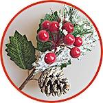 Ветка-букетик, новогодний декор, шишки и ягоды и туя в снегу, 28 см