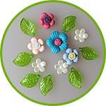 Цветочки и листики для скрапбукинга, открыток и другого декора