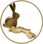 Кролик-коробка, ушки вверх, фигурка из папье-маше