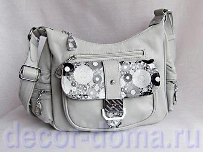 """Белая сумка с декором бумагой Decopatch """"Круги"""""""