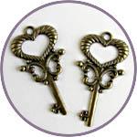 """Ключи старинные """"сердечко"""", 4 см, подвески, 2 шт."""