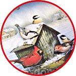 Зимний пейзаж с птичками, бумага для декупажа рисовая