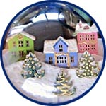 Ёлочный шар с зимними европейскими домиками, мастер-класс