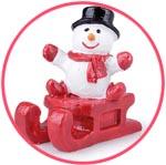 Снеговик на санках, фигурка новогодняя