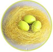 Яйца, 3 шт., в гнезде из сизаля, цвет желтый