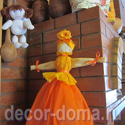 Кукла-Масленица из гофрированной бумаги, мастер-класс