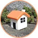 Домик мини, кубик, 2,5 см, крыша оранжевая