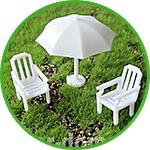 Пляжный комплект мини, зонтик и 2 кресла, 1,5-3 см
