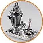 Самовар мини, с подносом, чашкой и ложкой, цвет старое серебро