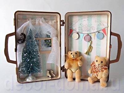 Мишки Тедди - новогодний винтаж в чемоданчике, мастер-класс по кукольной миниатюре