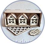 Домики на ёлку, подарочный набор в коробочке, 3 шт.